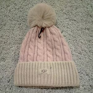 UGG lavender and tan Pom-Pom hat